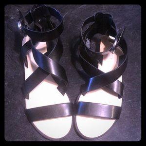 Worn Once!  Nine West Black Gladiator Sandals